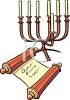 Torah and a Copper Menorah clipart