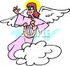Angel with a Lyre, Waving from a Cloud clipart