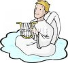 Angel Playing a Lyre on a Cloud clipart