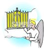 Angel Standing at the Pearly Gates clipart