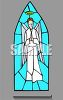 Church Window of Stained Glass Depicting an Angel clipart