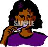 African American Girl Brushing Her Teeth clipart