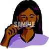 Latino Girl Brushing Her Teeth clipart