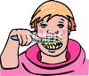 Boy Brushing His Teeth clipart