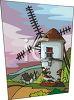 Dutch Windmill with a Village in the Distance clipart