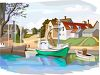 Fishing Village with Boats clipart