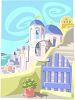Mediterranean Village by the Sea clipart