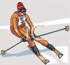Skier in a Downhill Race clipart