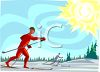 Cross Country Skiers in the Sun clipart