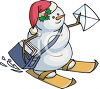 Snowman Delivering Mail on Skis clipart