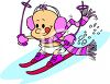 Cartoon of  a Baby Skiing clipart