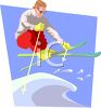 Man Jumping a Snowbank on His Skis clipart