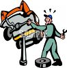 Surprised Mechanic-Car Falling off the Jack clipart