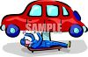 Mechanic on a Creeper Under a Car clipart