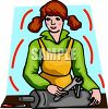Woman Working on a Car Muffler clipart