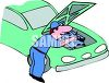 Cartoon of a Mechanic Fixing a Car Engine clipart