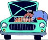 Cartoon of a Black Mechanic Working on a Motor clipart