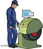 Mechanic Balancing a Tire  clipart