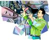 Mechanic Working Under a Car Up on a Hydraulic Jack clipart