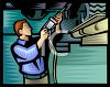 Mechanic Using a Compressed Air Tool on a Car clipart