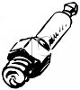 Black and White Clip Art of a Spark Plug clipart