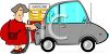 Woman Filling Her Car with Gas clipart