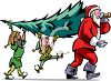 Santa Claus and His Elves Carrying a Christmas Tree clipart