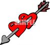Cupids Arrow Through Two Hearts clipart
