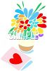 Flowers in a Vase with a Valentine Card clipart