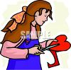 Girl Cutting Out a Paper Heart clipart