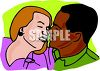 Interracial Couple Kissing clipart