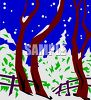 Snowy Woods at Night clipart