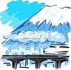 Train Crossing a Bridge in the Snowy Mountains clipart