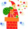 Santa Going Down a Chimney with a Sack of Toys clipart
