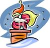 Santa Climbing Down Chimney on Christmas Eve clipart