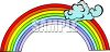 Large Rainbow with Clouds clipart
