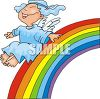 Angel Sliding Down a Rainbow clipart