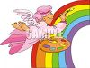 Angel Painting a Rainbow clipart