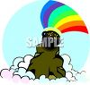 Pot of Gold on a Mountain Top clipart