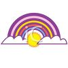 Cute Rainbow with a Sun and Clouds clipart