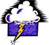Bolt of Lightening Coming from a Cloud clipart