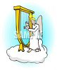 Angel, Sitting on a Cloud, Playing a Harp clipart