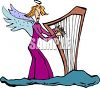 Skinny Angel Playing a Harp clipart