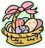 Easter Basket with a Pink Bow clipart