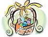 Easter Basket with a Yellow Bow clipart