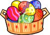 Brightly Colored Easter Eggs in a Wooden Basket clipart