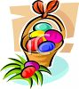 Easter Basket with an Orange Bow clipart