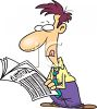 Cartoon Guy Looking Through the Classifieds for a Job clipart