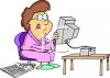 Woman Looking Online and In the Paper for a Job clipart