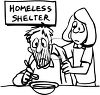Black and White Clip Art of a Man Eating at a Homeless Shelter clipart